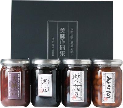 常温・煮豆大びん詰合せ(黒豆・紫花豆・とら豆・大納言)