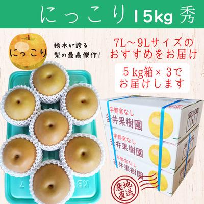 にっこり梨【15kg(5kg×3箱)】秀