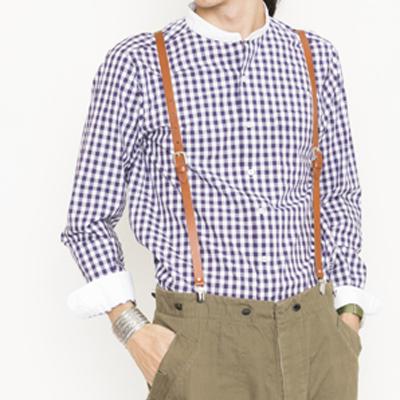 (men's) s&nd/セカンド ギンガムクレリックバンドカラーシャツ darkpurple (mshi007)