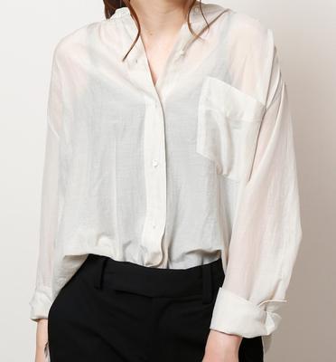 (lady's) mjuka/ミューカ コットンシルクスタンドカラーシャツ ivory (Lshi027)