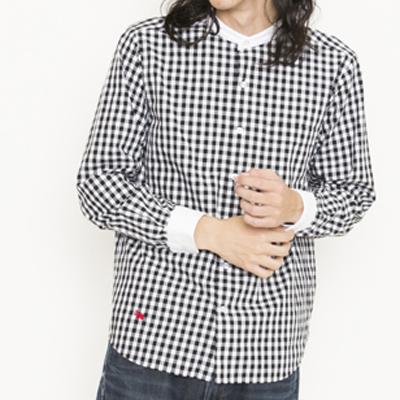 (men's) ギンガムクレリックバンドカラーシャツ black (mshi006)