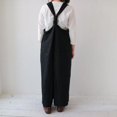 (lady's) YARRA/ヤラ バックシャンリネンサロペット black (Lbt013)