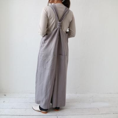 (lady's) YARRA/ヤラ バックシャンリネンサロペット gray (Lbt014)