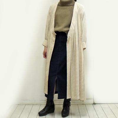 Hunch/ハンチ リーフ柄カシュクールワンピース beige (Lop025)