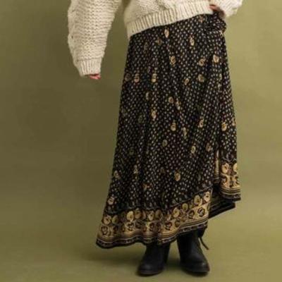 audrey and john wad 花柄ロングスカート Mサイズ black (Lbt017)