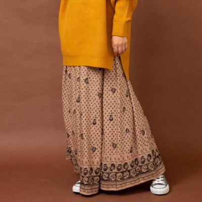 audrey and john wad 花柄ロングスカート beige Mサイズ (Lbt018)