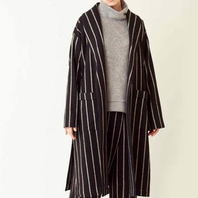 KELEN/ケレン ワイドピッチストライプ オーバーコート Roki Sサイズ  black (Lou001)