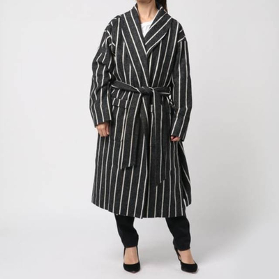KELEN/ケレン ワイドピッチストライプオーバーコート Roki Sサイズ gray (Lou002)