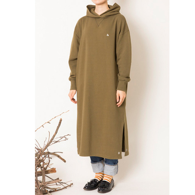 s&nd/セカンド 裏毛フードワンピース khaki (Lop031)