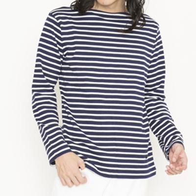(men's)ボーダーバスクシャツ navy×natural (mct001)