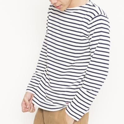 (men's) ボーダーバスクシャツ naturai×navy (mct002)