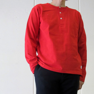 Drole & FUN/ドロールアンドファン フレンチヘンリー L/S TEE red (mct044)