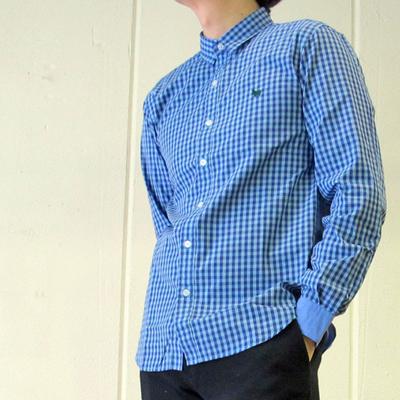 s&nd/セカンド カラーギンガム×無地 コンビシャツ blue Mサイズ (mshi030)