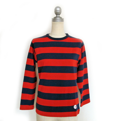 (lady's) Drole & FUN/ドロールアンドファン ワイドボーダー L/S TEE navy×red (Lct061)