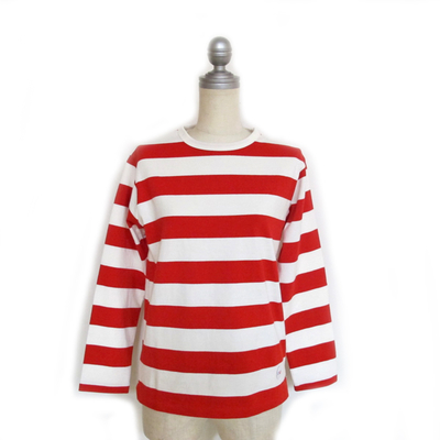 (lady's) Drole & FUN/ドロールアンドファン ワイドボーダー L/S TEE nat×red (Lct063)