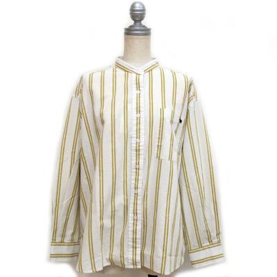 (lady's) s&nd/セカンド 綿麻ストライプ ちょいゆるシャツ yellow (Lshi038)