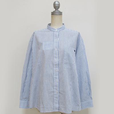 (lady's) s&nd/セカンド 綿麻ストライプ ちょいゆるシャツ blue (Lshi039)