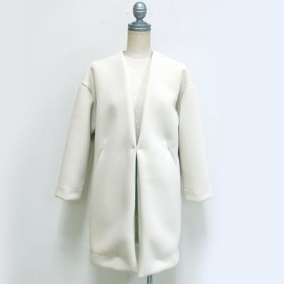 mjuka/ミューカ Vネックノーカラーボンディングコート ivory (Lou025) ※送料手数料¥0