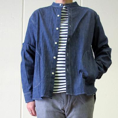 Drole & FUN/ドロールアンドファン バンドカラーポケ付きシャツジャケット navy  (mou012) ※送料手数料¥0