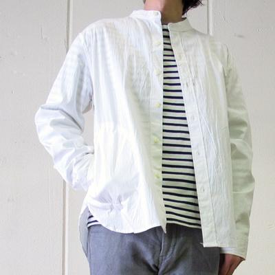 Drole & FUN/ドロールアンドファン バンドカラーポケ付きシャツジャケット white  (mou013)