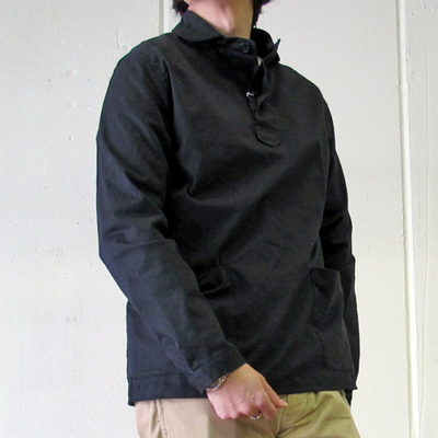 (men's) Drole & FUN/ドロールアンドファン ショール衿プルオーバーシャツ black (mshi033) ※送料手数料¥0