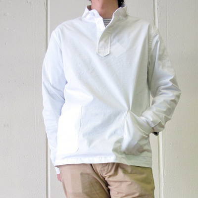 (men's) Drole & FUN/ドロールアンドファン ショール衿プルオーバーシャツ white (mshi034)