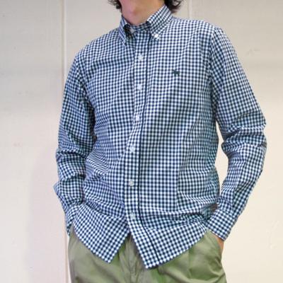 (men's) ギンガムチェックボタンダウンシャツ navy (mshi013)