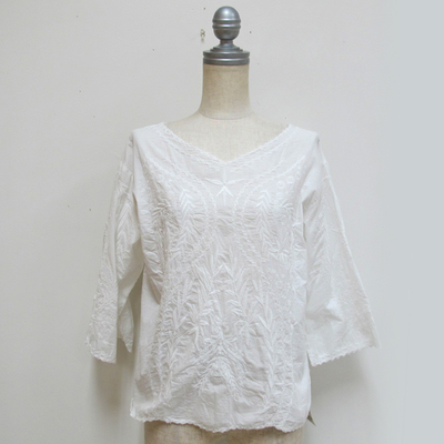 mjuka/ミューカ 刺しゅうブラウス white (Lshi044) ※送料手数料¥0