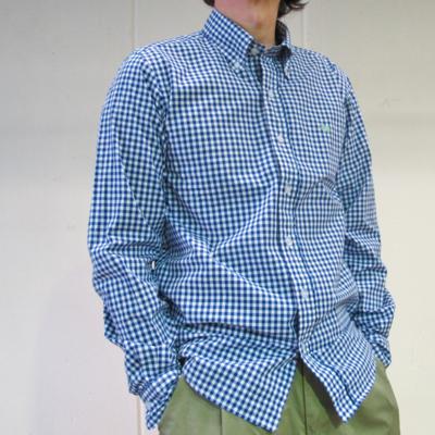 (men's) ギンガムチェックボタンダウンシャツ blue (mshi014)