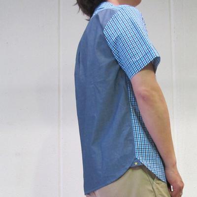 s&nd/セカンド カラーギンガム半袖シャツ blue (mshi038) ※送料手数料¥0
