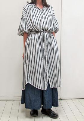 nougatine/ヌガティーヌ ストライプ ワンピースコート white (Lop054) ※送料手数料¥0