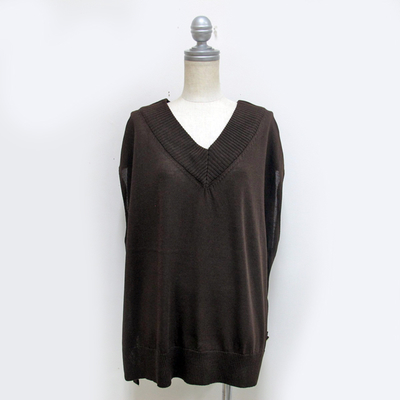 (lady's) Hunch / ハンチ ゆるニットベスト brown (Lct086)