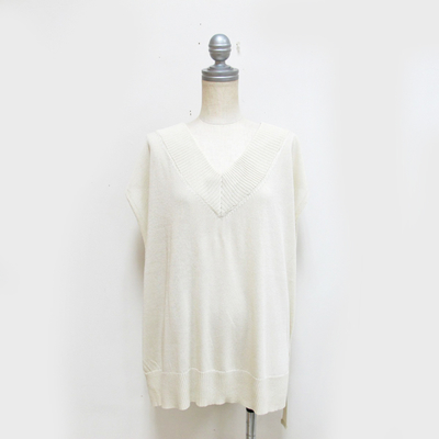 (lady's) Hunch / ハンチ ゆるニットベスト OFF white (Lct088)