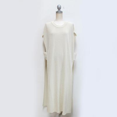 (lady's) Hunch / ハンチ リネンライク 12G片畔編み ロングベスト off white (Lct089)