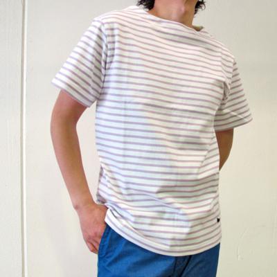 (men's) SS ボーダーバスクシャツ white×L.purple (mct011)