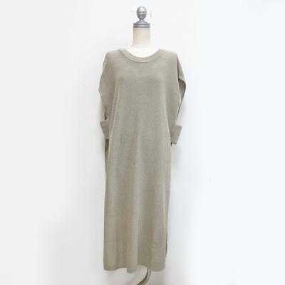 (lady's) Hunch / ハンチ リネンライク12G片畦編みロングベスト beige (Lct090)