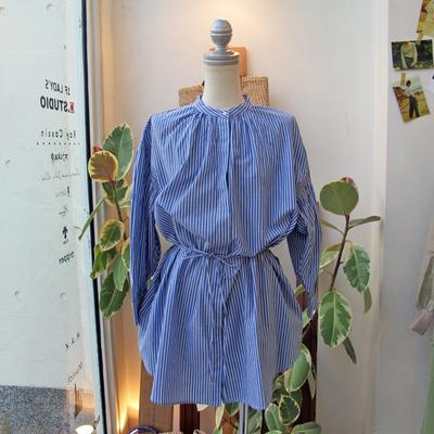(lady's) Hunch / ハンチ シャーリングチュニックシャツ stripe (Lshi054)