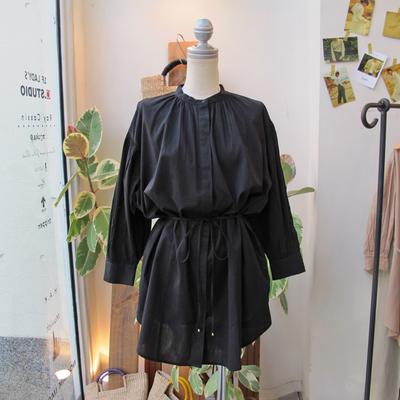 (lady's) Hunch / ハンチ シャーリングチュニックシャツ black (Lshi055)