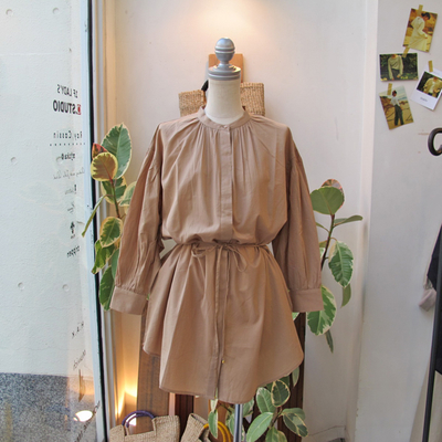 (lady's) Hunch / ハンチ シャーリングチュニックシャツ beige (Lshi056)