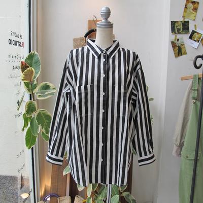 (lady's) nougatine/ヌガティーヌ ストライプ柄ビッグシャツ black (Lshi058)
