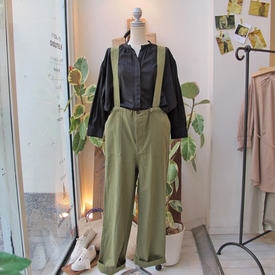 (lady's) khakito / カーキト イージーパンツサロペット olive (Lbt042)