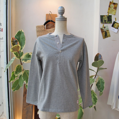 (lady's) Drole & FUN / ドロールアンドファン フレンチヘンリー L/S TEE gray (Lct093)