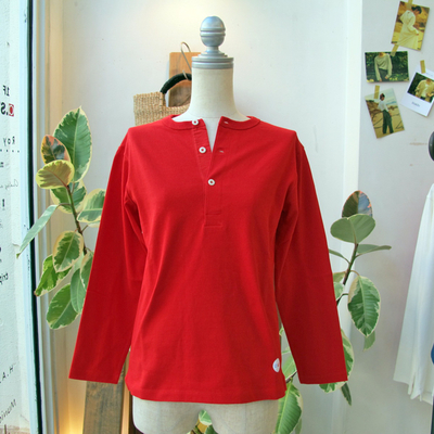 (lady's) Drole & FUN / ドロールアンドファン フレンチヘンリーL/S TEE red (Lct094)