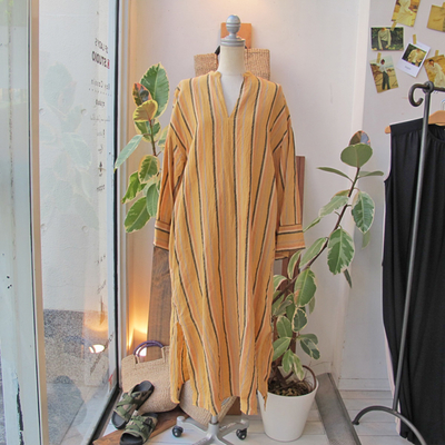 (lady's) mjuka / ミューカ ストライプカフタンワンピース yellow (Lop071)