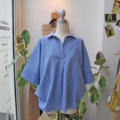 (lady's) Hunch / ハンチ スキッパー2WAYシャツ stripe (Lshi059)