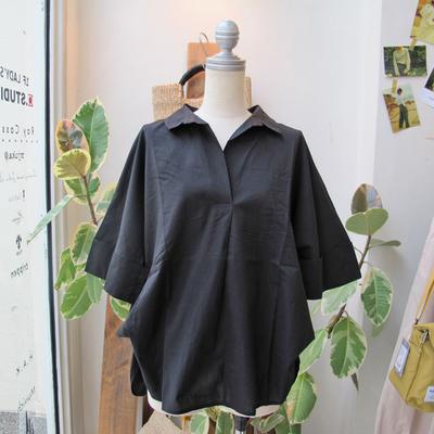 (lady's) Hunch / ハンチ スキッパー2WAYシャツ black (Lshi060)