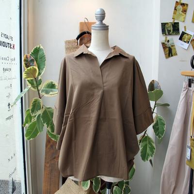 (lady's) Hunch / ハンチ スキッパー2WAYシャツ khaki (Lshi061)