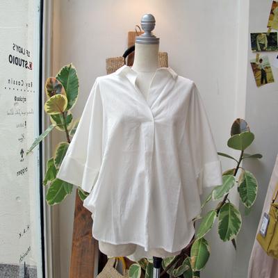 (lady's) Hunch / ハンチ スキッパー2WAYシャツ white (Lshi063)