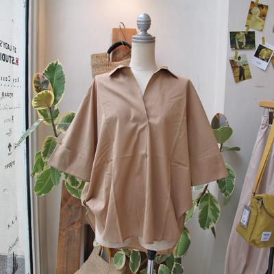 (lady's) Hunch / ハンチ スキッパー2WAYシャツ beige (Lshi062)