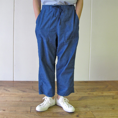 (men's) MANUAL ALPHABET / マニュアルアルファベット DENIM UTILITY EASY PANTS lt.indigo (mbt011)